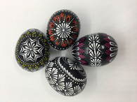 1 set of wooden Easter eggs / black - Lithuanian MARGUCIAI