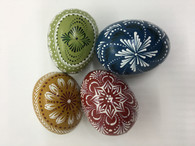 1 set of wooden Easter eggs decoration - Lithuanian MARGUCIAI - 4 colours
