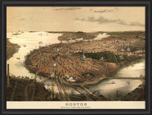 boston birdseye view vintage historic framed wall art