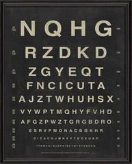 framed vintage eye chart, letters