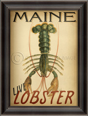 Maine lobster vintage framed art