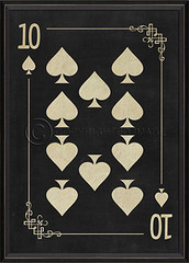Ten of Spades white on black 91416