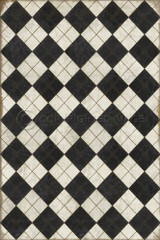 Pattern 65 High Fidelity vinyl floor cloth. This is the design for all rectangle cloths. Larger cloth = larger design.
