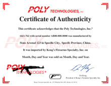 The certificate is printed on archive-quality 100lb. paper, with a Poly Technologies, Inc. logo and watermark and KFS logo. The certificate provides the place of manufacture, import date, sold date, and other information valuable to the collector. Each certificate is signed by Da Keng, who is the current owner, president of KFS, and son of founder and former president of KFS David Keng.
