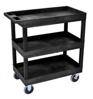 Luxor EC111HD-B 18 x 32 Tub Cart with 3 shelves