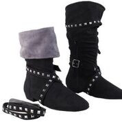 SOFT BLACK MICROFIBER MOVEABLE STUDDED STRAPS TOP CAN BE TURNED DOWN FOR A DIFFERENT LOOK GREY MICROFIBER ON INSIDE HALF INCH HEEL