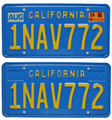 California 1986 Blue License Plate Pair - 1NAV772