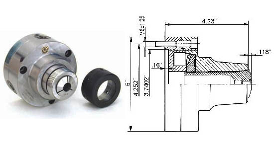 Bison 5C Collet Chuck 5in Threaded Spindle Nose