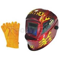 Astro Pneumatic Deluxe Auto-Darkening Solar Welding Helmet w/ Flames - AST8095SE