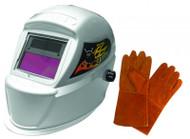 "Astro Pneumatic Deluxe Solar Auto-Darkening Welding Helmet and 13.5"" Leather Welding Gloves - AST8075SE"