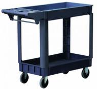 "Astro Pneumatic Industrial Heavy Duty Plastic 2 Shelf Utility Cart, 30"" x 16"" - 8337"