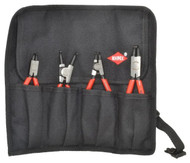 "Knipex Retaining Ring Pliers Set, Internal/External, 4 Pieces, 5/16 to 2-1/2"" Bore, 1/8 to 2-1/2"" Shaft - 92-494-4"