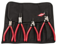 "Knipex Retaining Ring Pliers Set, Internal/External, 4 Pieces, 5/16 to 2-1/2"" Bore, 1/8 to 2-1/2"" Shaft - 92-493-6"