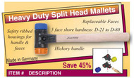 "Wiha Heavy Duty Split Head Mallet, 10.6 oz, 1.2"" x 10.2"" - 83230"