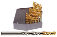 """YG-1 Gold P-Coated H.S.S. Steel Jobber Length Drills Set, 135º Split Point Right Hand, 1/16"""" to 1/2"""" by 64ths, 29 Pcs, P-Drill Set - P182"""
