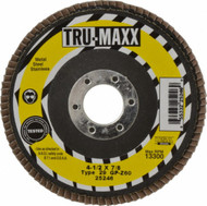 Tru-Maxx  4-1/2 Inch Diameter x 7/8 Inch Hole Coated Zirconia Alumina Flap Disc - 64-026-8