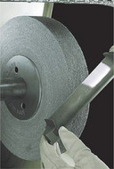 "Aluminum Oxide Metal Finishing Wheel, 6"" Diameter, 1"" Width, 1-1/4"" Hole Diameter, Medium Grit, 5 Density - 64-142-3"