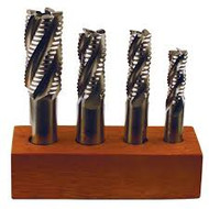 Precise 4 Piece M42 Cobalt Coarse Tooth Roughing Single End Mill Set  - 08-200-901