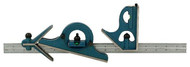 "PEC 4-Piece Combination Square Set U-38X, 18"" Length, 16R, Reversible Protractor Head - 57-020-326"