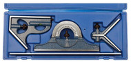 "PEC 4-Piece Combination Square Set U-35X, 12"" Length, 16R, Reversible Protractor Head - 57-020-337"