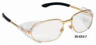 Crews Rattler2 Safety Glasses, Clear Lens, Silver Frame - 56-655-4