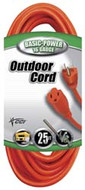 Coleman Cable Vinyl Extension Cord, 16/3 Wire Ground, 25 ft. - 65-009-3