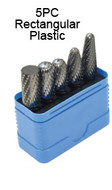 "Grobet USA Carbide Bur Set, 5PC Bur Set 1/4"" Shank DBL Cut Rectangular Plastic - 32-950"