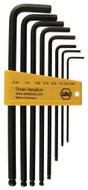 Wiha Ball End Hex Long Arm L-Key Black Inch 8 Piece Set - 36993