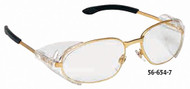 Crews Rattler2 Safety Glasses, Clear Lens, Gold Frame - 56-654-7