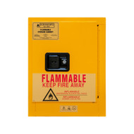 Durham FM Approved 4 Gallon, Manual Closing, Yellow Flammable Safety Cabinet - 1004M-50