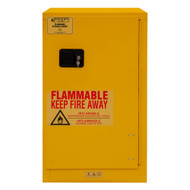 Durham FM Approved 16 Gallon, Manual Closing, Yellow Flammable Safety Cabinet - 1016M-50