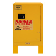 Durham FM Approved 12 Gallon, Manual Closing, Yellow Flammable Safety Cabinet with Legs - 1012ML-50