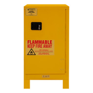 Durham FM Approved 16 Gallon, Manual Closing, Yellow Flammable Safety Cabinet with Legs - 1016ML-50