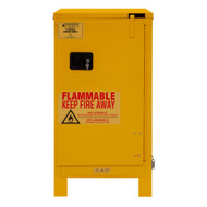 Durham FM Approved 16 Gallon, Self Closing, Yellow Flammable Safety Cabinet with Legs - 1016SL-50