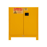 Durham FM Approved 30 Gallon, Manual Closing, Yellow Flammable Safety Cabinet with Legs - 1030ML-50