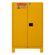 Durham FM Approved 45 Gallon, Manual Closing, Yellow Flammable Safety Cabinet with Legs - 1045ML-50