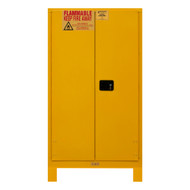 Durham FM Approved 60 Gallon, Manual Closing, Yellow Flammable Safety Cabinet with Legs - 1060ML-50