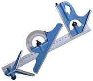 "PEC Tools 4 pc. Combination Square Set, Hardened Steel, 18""/450mm E/M - 7127-018H"