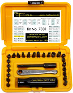 Chapman SAE + Metric Allen Hex Screwdriver Set, Safety Yellow Case  - 7331-Y