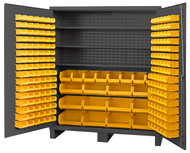 "Durham Mfg. 14 Gauge Heavy Duty Cabinet, 3 Shelves, 212 Yellow Bins , 72"" x 24"" x 84"" - BDLP-212-3S-95"