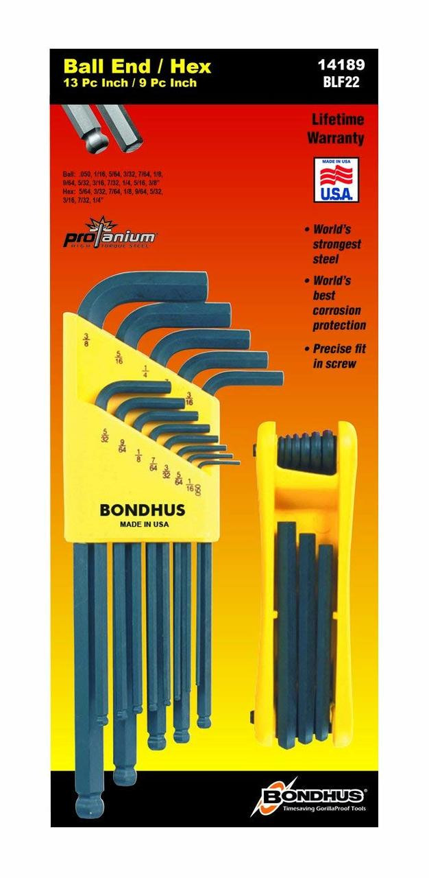 Bondhus 9 pc Ball End Metric Hex L Wrench Set 1.5-10 mm MADE IN USA 10999