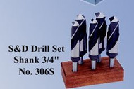 """Precise 8 Piece High Speed Steel Drill Set 1"""" to 1-1/2"""" by 1/8ths with 3/4"""" Shank - 306S"""