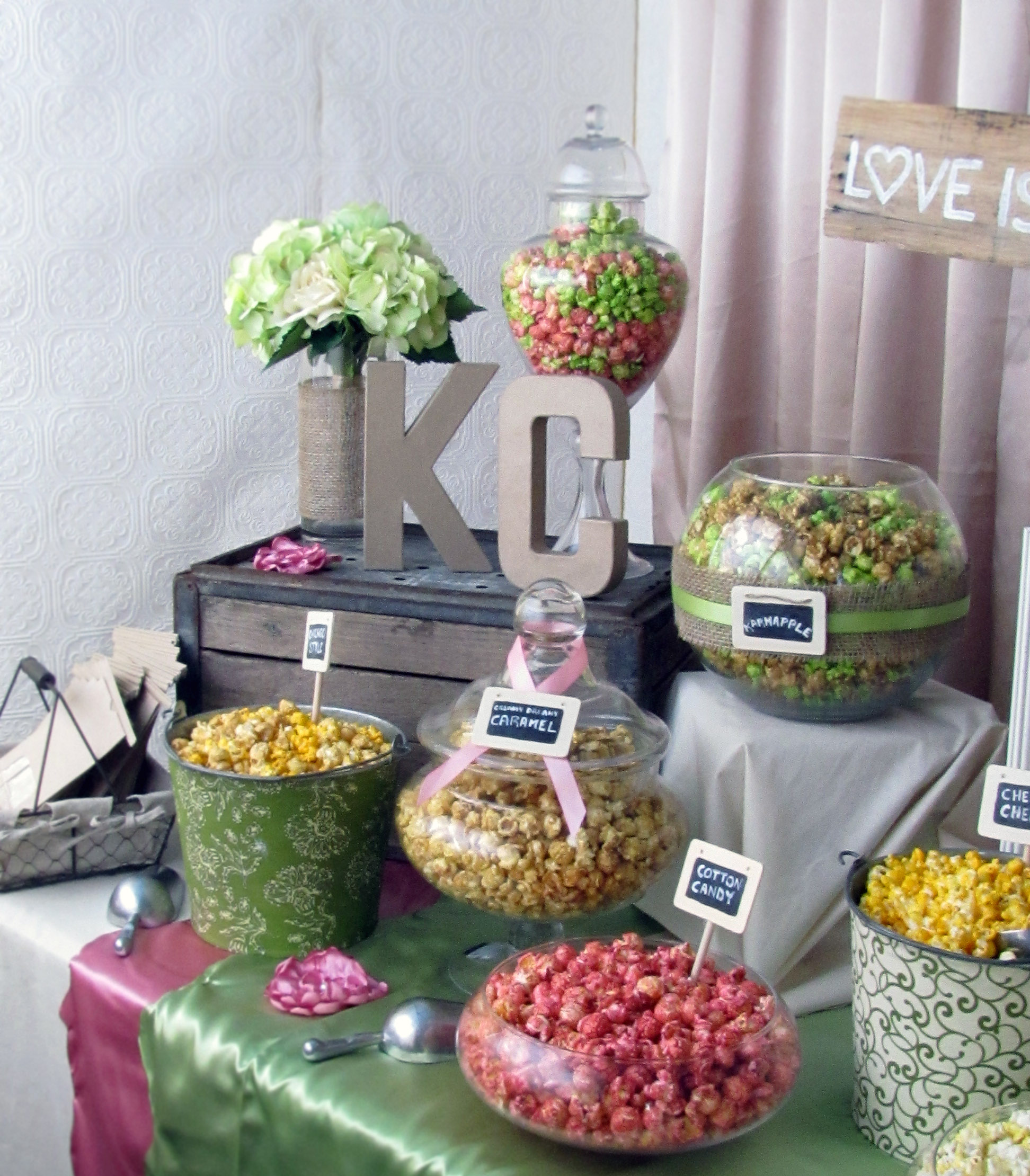 Rustic Chic Wedding Popcorn Bar
