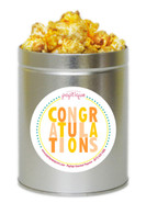 Orange Congratulations 1 Quart Popcorn Tin