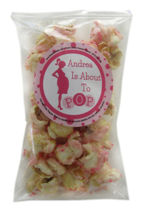 About to Pop! POPular Expressions party favors with Pink Baby Cakes popcorn.