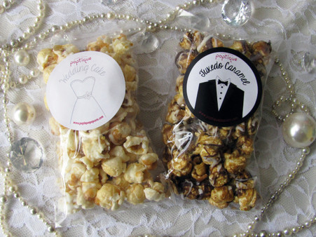 Wedding Day Popcorn Duo with sweet, white Wedding Cake popcorn drizzled in vanilla icing and sprinkled with edible pearls and gems and rich Tuxedo Caramel popcorn drizzled in heaps of both white and milk chocolate.