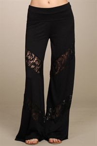 Wide Leg Pants with Lace Insets