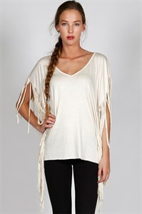 Fringed Sleeve Top