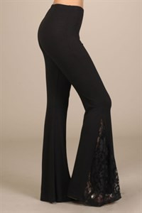 Black Bell Bottom Pants with Lace Insets