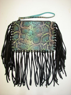 Teal Boa Wristlet with Fringe